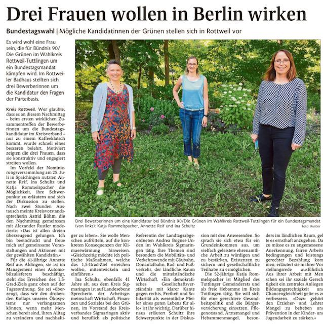 Schwarzwälder Bote berichtet über Kandidatinnenvorstellung